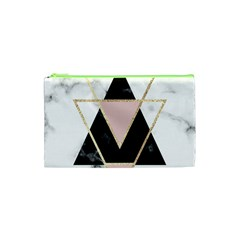 Triangles,gold,black,pink,marbles,collage,modern,trendy,cute,decorative, Cosmetic Bag (xs) by 8fugoso