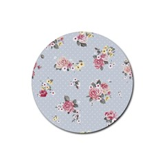 Floral Blue Rubber Coaster (round)  by 8fugoso