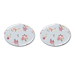 Floral Blue Cufflinks (oval)