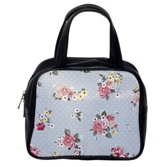 Floral Blue Classic Handbags (one Side) by 8fugoso