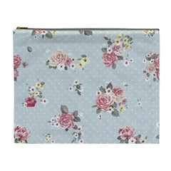 Floral Blue Cosmetic Bag (xl) by 8fugoso