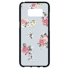 Floral Blue Samsung Galaxy S8 Black Seamless Case