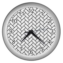 Brick2 Black Marble & White Linen Wall Clocks (silver)  by trendistuff