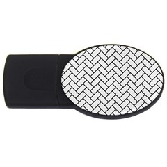 Brick2 Black Marble & White Linen Usb Flash Drive Oval (2 Gb) by trendistuff