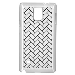 Brick2 Black Marble & White Linen Samsung Galaxy Note 4 Case (white) by trendistuff
