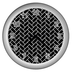 Brick2 Black Marble & White Linen (r) Wall Clocks (silver)  by trendistuff