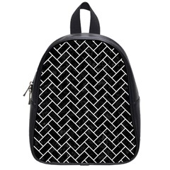 Brick2 Black Marble & White Linen (r) School Bag (small) by trendistuff