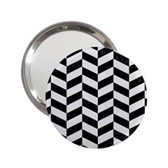 Chevron1 Black Marble & White Linen 2 25  Handbag Mirrors by trendistuff