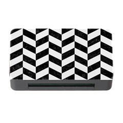 Chevron1 Black Marble & White Linen Memory Card Reader With Cf by trendistuff