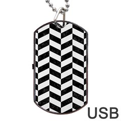 Chevron1 Black Marble & White Linen Dog Tag Usb Flash (two Sides) by trendistuff