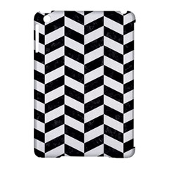 Chevron1 Black Marble & White Linen Apple Ipad Mini Hardshell Case (compatible With Smart Cover) by trendistuff
