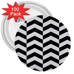 Chevron2 Black Marble & White Linen 3  Buttons (100 Pack)  by trendistuff