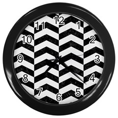 Chevron2 Black Marble & White Linen Wall Clocks (black) by trendistuff