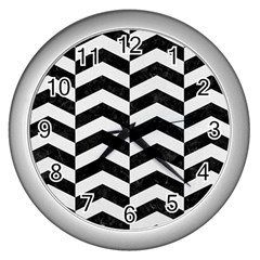 Chevron2 Black Marble & White Linen Wall Clocks (silver)  by trendistuff