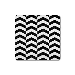 Chevron2 Black Marble & White Linen Square Magnet by trendistuff