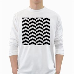 Chevron2 Black Marble & White Linen White Long Sleeve T Shirts by trendistuff