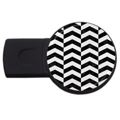 Chevron2 Black Marble & White Linen Usb Flash Drive Round (4 Gb) by trendistuff