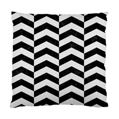 Chevron2 Black Marble & White Linen Standard Cushion Case (two Sides) by trendistuff