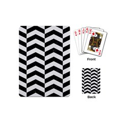 Chevron2 Black Marble & White Linen Playing Cards (mini)  by trendistuff