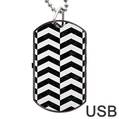 Chevron2 Black Marble & White Linen Dog Tag Usb Flash (two Sides) by trendistuff