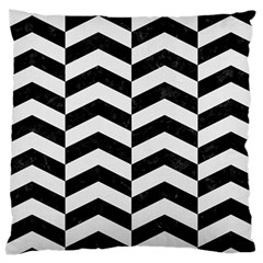 Chevron2 Black Marble & White Linen Large Cushion Case (two Sides) by trendistuff