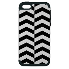 Chevron2 Black Marble & White Linen Apple Iphone 5 Hardshell Case (pc+silicone) by trendistuff