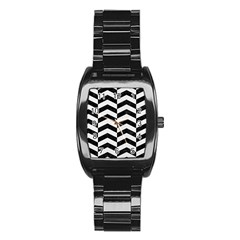 Chevron2 Black Marble & White Linen Stainless Steel Barrel Watch by trendistuff
