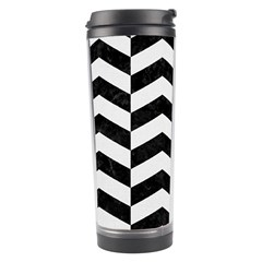 Chevron2 Black Marble & White Linen Travel Tumbler by trendistuff