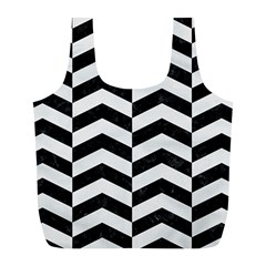 Chevron2 Black Marble & White Linen Full Print Recycle Bags (l)  by trendistuff