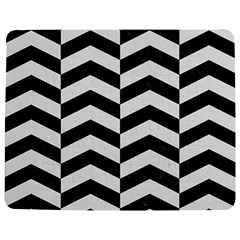 Chevron2 Black Marble & White Linen Jigsaw Puzzle Photo Stand (rectangular) by trendistuff