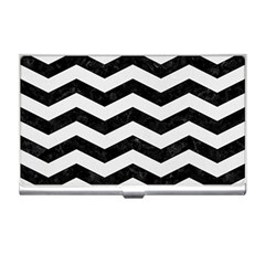 Chevron3 Black Marble & White Linen Business Card Holders by trendistuff