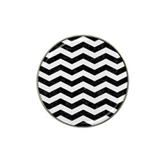 Chevron3 Black Marble & White Linen Hat Clip Ball Marker by trendistuff
