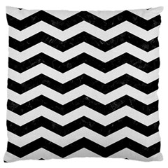 Chevron3 Black Marble & White Linen Large Cushion Case (two Sides) by trendistuff