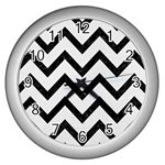 CHEVRON9 BLACK MARBLE & WHITE LINEN Wall Clocks (Silver)  Front