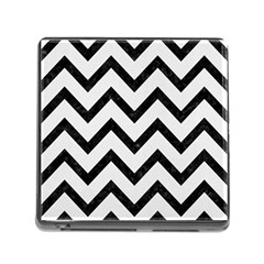 Chevron9 Black Marble & White Linen Memory Card Reader (square) by trendistuff