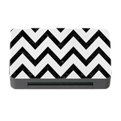 Chevron9 Black Marble & White Linen Memory Card Reader With Cf by trendistuff