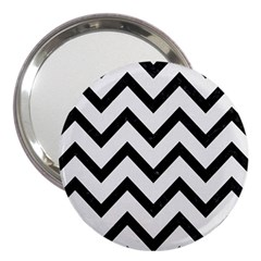Chevron9 Black Marble & White Linen 3  Handbag Mirrors by trendistuff
