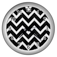 Chevron9 Black Marble & White Linen (r) Wall Clocks (silver)  by trendistuff