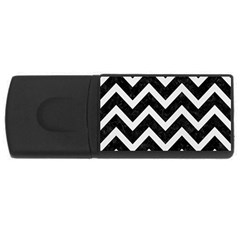 Chevron9 Black Marble & White Linen (r) Rectangular Usb Flash Drive by trendistuff