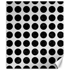 Circles1 Black Marble & White Linen Canvas 20  X 24   by trendistuff