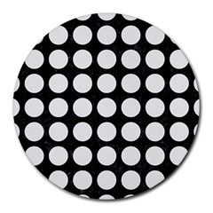 Circles1 Black Marble & White Linen (r) Round Mousepads by trendistuff