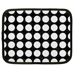 Circles1 Black Marble & White Linen (r) Netbook Case (large) by trendistuff
