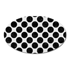 Circles2 Black Marble & White Linen Oval Magnet by trendistuff