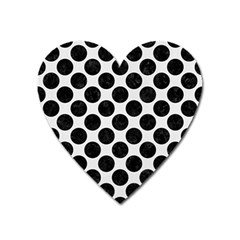 Circles2 Black Marble & White Linen Heart Magnet by trendistuff