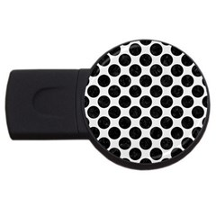 Circles2 Black Marble & White Linen Usb Flash Drive Round (4 Gb) by trendistuff