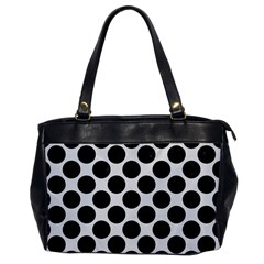 Circles2 Black Marble & White Linen Office Handbags by trendistuff