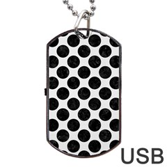 Circles2 Black Marble & White Linen Dog Tag Usb Flash (one Side) by trendistuff