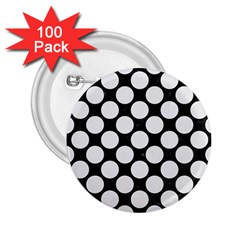 Circles2 Black Marble & White Linen (r) 2 25  Buttons (100 Pack)  by trendistuff