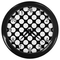 Circles2 Black Marble & White Linen (r) Wall Clocks (black) by trendistuff