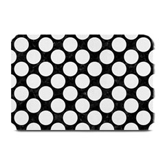 Circles2 Black Marble & White Linen (r) Plate Mats by trendistuff